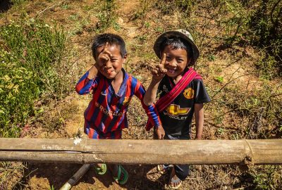 Children having fun during the trekking Myanmar