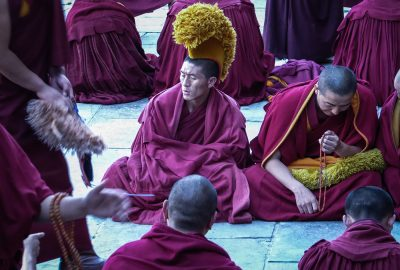 Silk road start Buddhist monks in Kumbum monastery Qinghai China