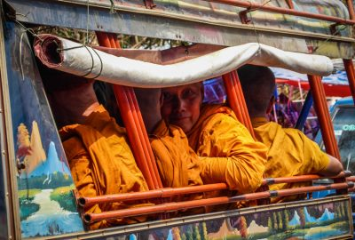 Monks in a tuktuk Pakse - Laos