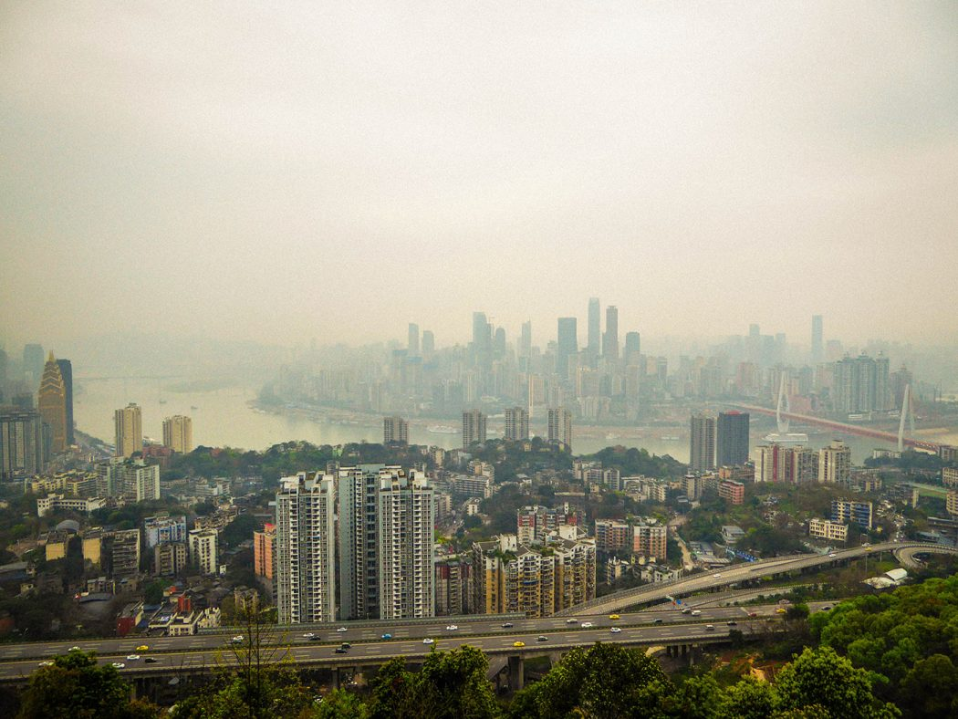 Downtown Chongqing, China and the yangtze river