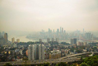 Downtown Chongqing, China and the yangtze river