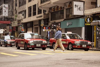 The famous red taxis in Hong kong