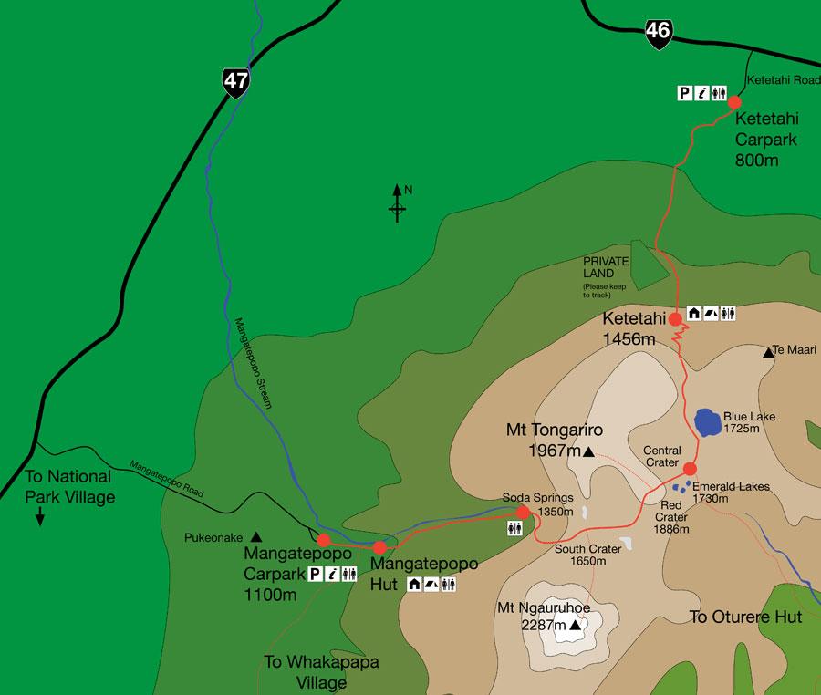 Tongariro Alpine Crossing map