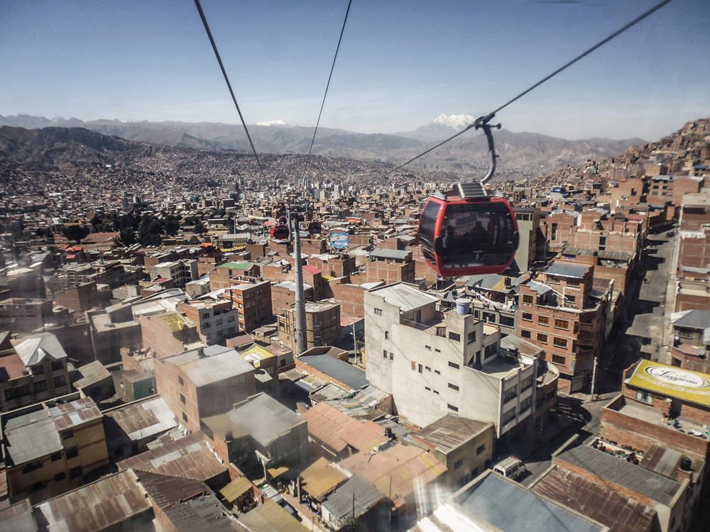 Cable car from La Paz to El Alto Bolivia