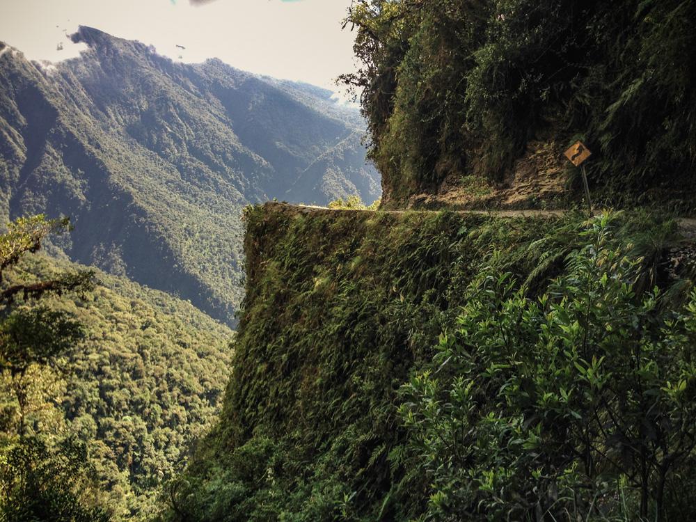 Famous Death road corner - La Paz to Coroico - Bolivia