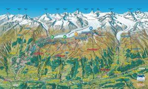 Fieschertal and Aletsch arena hiking map